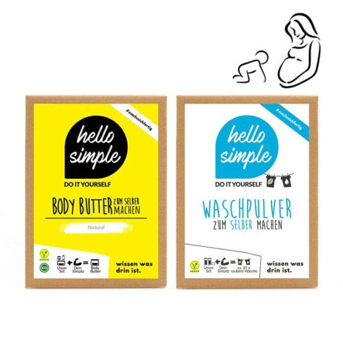 hello baby Set mit Bodybutter und Waschpulver