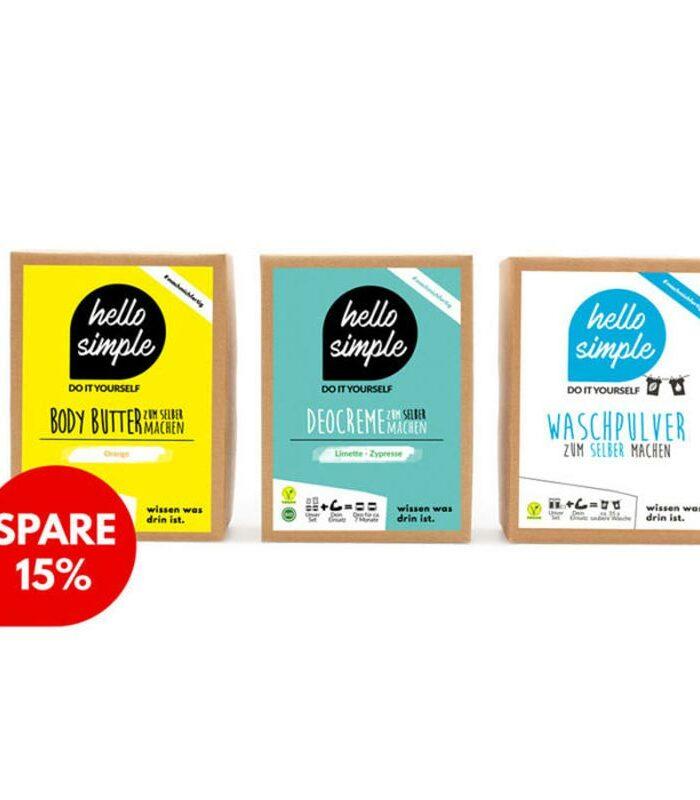 Vegane Pflege 3er-Set mit erfrischender Deocreme Limette-Zypresse, feuchtigkeitsspendender , frischer Body Butter Orange und Bio-Waschmittel zu 15% Rabatt!