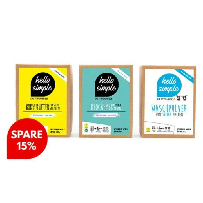 Vegane Pflege 3er-Set mit sinnlicher Deocreme Palmarosa-Lavendel, erfrischender Body Butter Pfefferminz-Lavendel und Bio-Waschmittel zu 15% Rabatt!