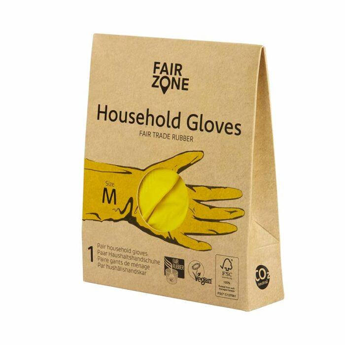 Fairtrade Haushaltshandschuhen aus nachhaltigem Kautschuk, der biologisch abbaubar ist.
