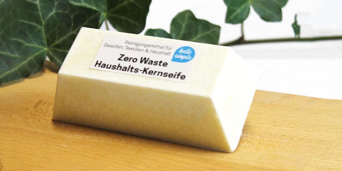 Vegane Kernseife ohne Palmöl zum Waschen und Putzen