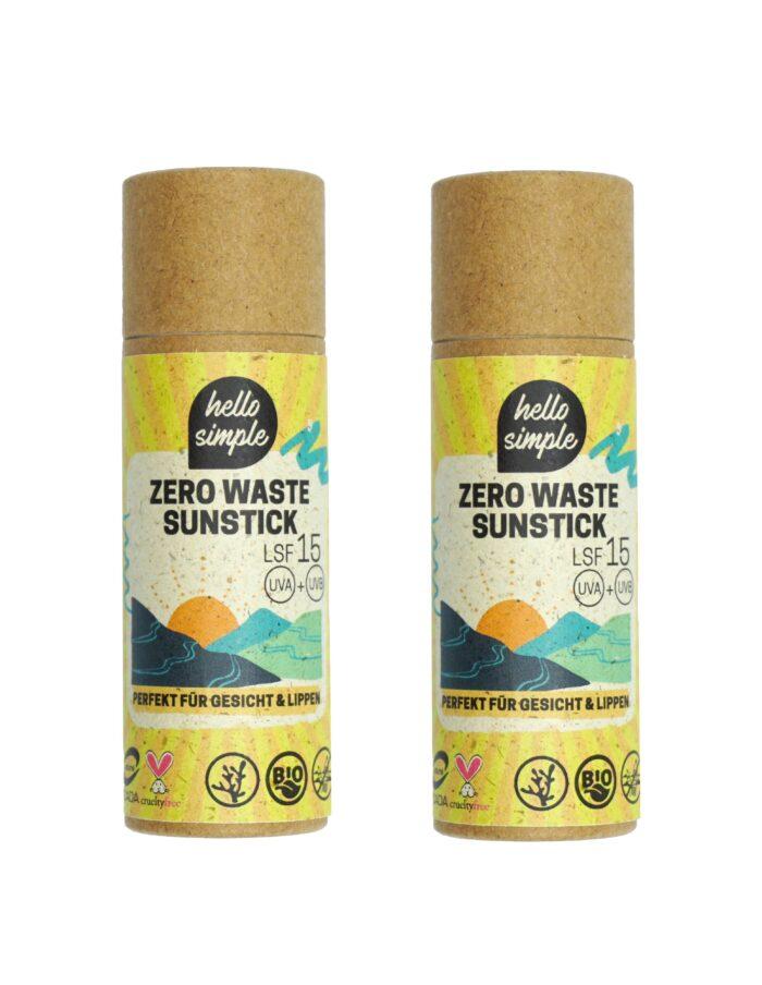 2er-Set Zero Waste fester Sonnencreme-Stick. Vegan, natürlich, plastikfrei mit LSF 15.