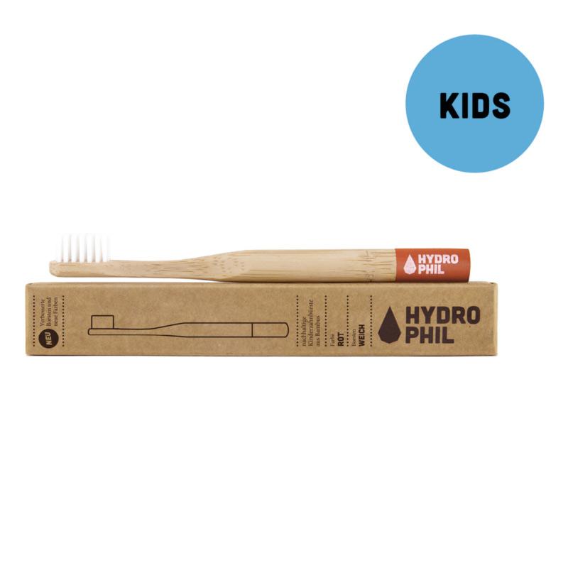 Bambus-Zahnbürste Kinder, rot und weich